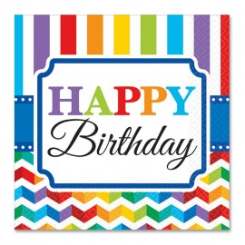 16 Servilletas Happy Birthday Colorines 25 cm