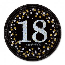 8 Platos 18 cumpleaños Elegant 23 cm