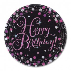 8 Platos Happy Birthday Elegant Pink 23 cm