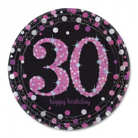 8 Platos 30 Elegant Pink 23 cm