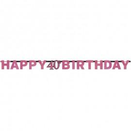 Guirnalda de cumpleaños Elegant Pink 40 años
