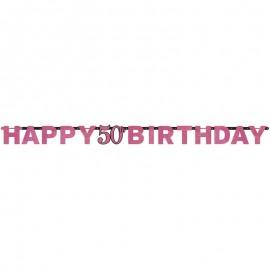 Guirnalda Elegant Pink de cumpleaños 50 años