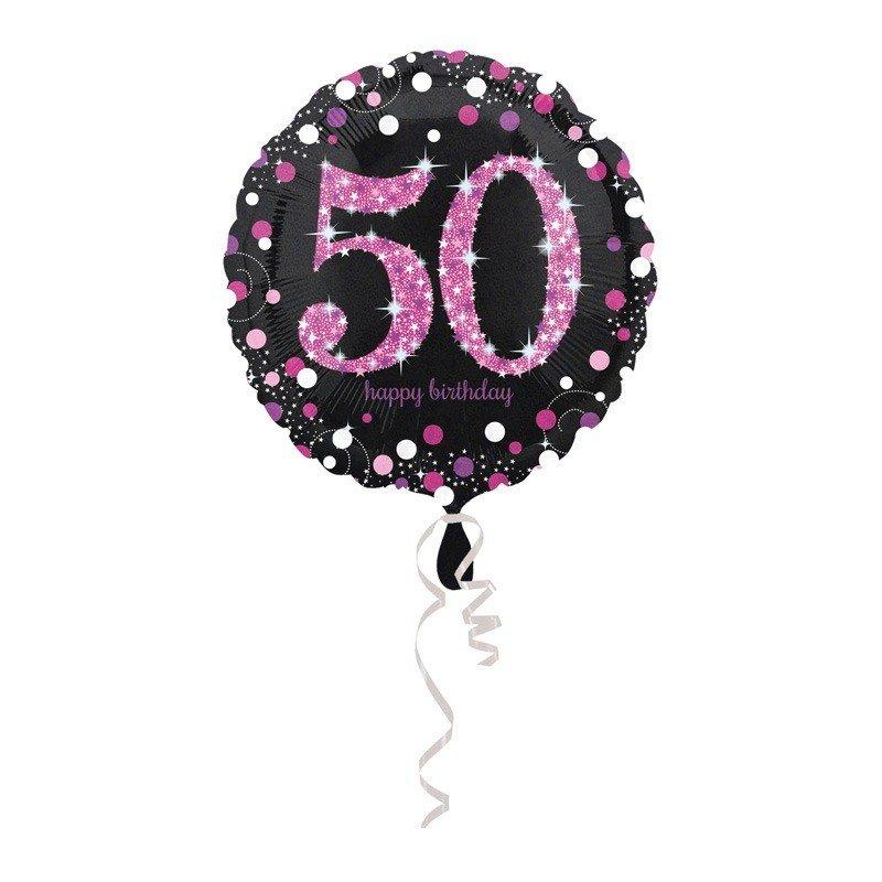 Globo foil 50 a os elegant pink 43 cm - Globos 50 anos ...