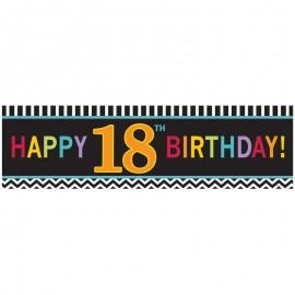 Pancarta Happy Birthday 18 Chevron