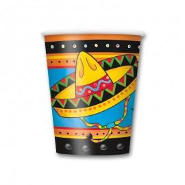 8 Vasos con Sombrero Mexicano 250 ml