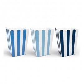 6 Cajas de Palomitas Rayas Azules y Blancas 12,5 cm