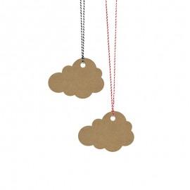 6 Etiquetas forma Nube con Cuerda