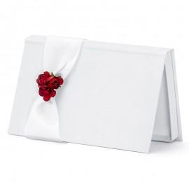 Sobre para Bodas Blanco con Flores Rojas