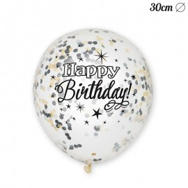 6 Globos de Confeti Happy Birthday Elegante 30 cm