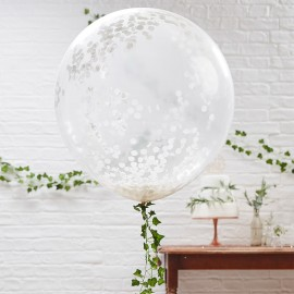 Globo de Confeti Gigante Blanco 90 cm