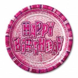 8 Platos Happy Birthday Rosa Glitz 23 cm