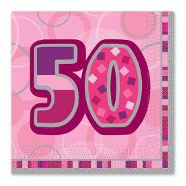 16 Servilletas 50 Años Rosa Glitz
