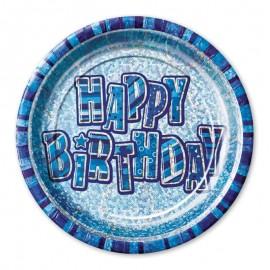 8 Platos Happy Birthday Azul Glitz 23 cm