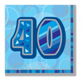 16 Servilletas 40 Años Azul Glitz