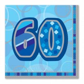 16 Servilletas 60 Años Azul Glitz