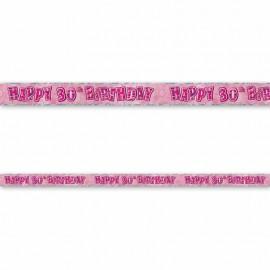Cartel Happy Birthday 30 Años Rosa Glitz