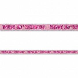 Cartel Happy Birthday 40 Años Rosa Glitz