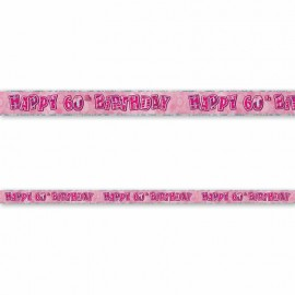 Cartel Happy Birthday 60 Años Rosa Glitz