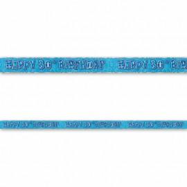 Cartel Happy Birthday 30 Años Azul Glitz