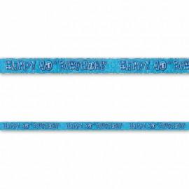 Cartel Happy Birthday 40 Años Azul Glitz