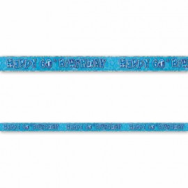 Cartel Happy Birthday 60 Años Azul Glitz