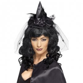 Diadema Negra con Minisombrero de Bruja
