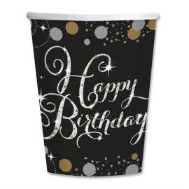 8 Vasos Elegant Happy Birthday 266 ml