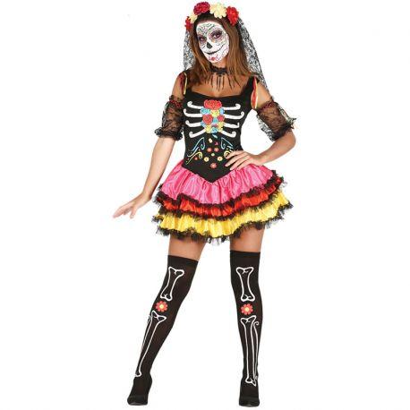 Disfraz de Catrina de Colores para Mujer con Falda