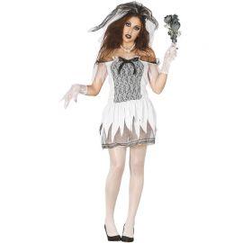 Disfraz de Dead Bride de Mujer Vestido Corto