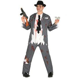 Disfraz de Zombie Gángster de Hombre con Manchas y Cortes