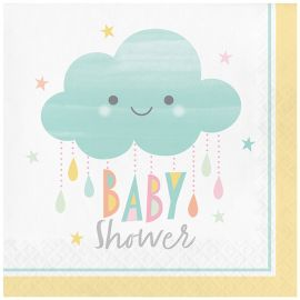 16 Servilletas Nubes Baby Shower 33 cm