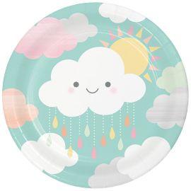 8 Platos Nubes 23 cm