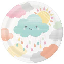 8 Platos Nubes 18 cm