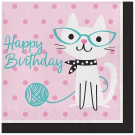 16 Servilletas Gatitos Happy Birthday 33 cm