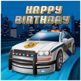 16 Servilletas Policia Happy Birthday 33 cm