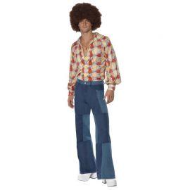Disfraz de los Años 70 con Pantalones Anchos para Hombre