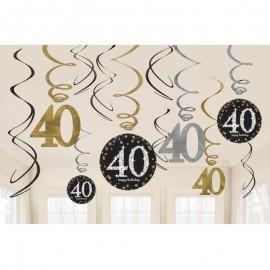 12 Colgantes 40 años Elegant