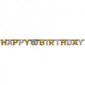 Guirnalda 60 años Happy Birthday Elegant