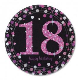 8 Platos 18 años Elegant Pink 23 cm