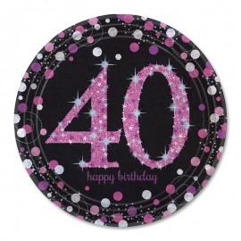 8 Platos 40 años Elegant Pink 23 cm