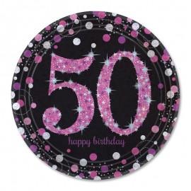 8 Platos 50 años Elegant Pink 23 cm