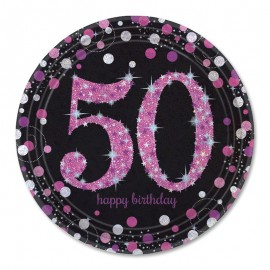 8 Platos 50 Elegant Pink 23 cm
