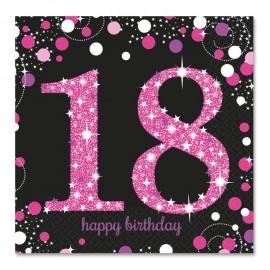 16 Servilletas 18 años Elegant Pink 33 cm