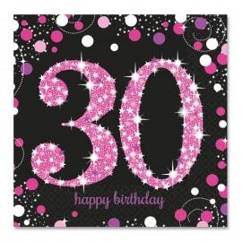 16 Servilletas 30 años Elegant Pink 33 cm