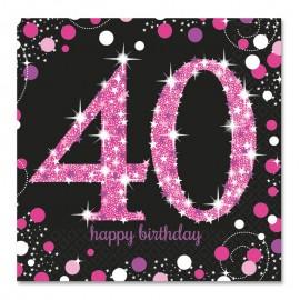 16 Servilletas 40 años Elegant Pink 33 cm