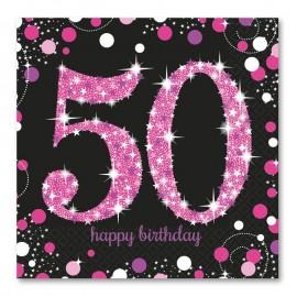 16 Servilletas 50 años Elegant Pink 33 cm