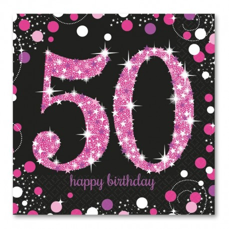 16 Servilletas 50 Elegant Pink 33 cm