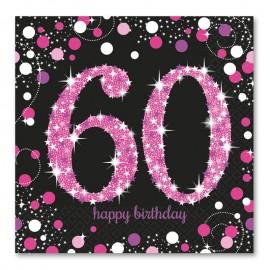 16 Servilletas 60 años Elegant Pink 33 cm