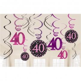 12 Colgantes 40 Elegant Pink