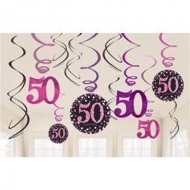 12 Colgantes 50 Años Elegant Pink